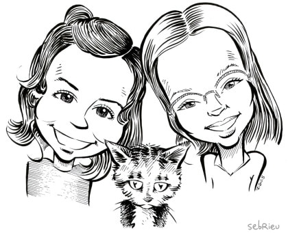 Caricatures de 2 fillettes