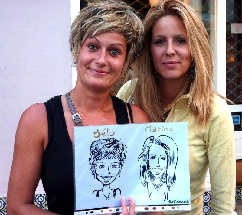 Deux femmes et leur caricatures