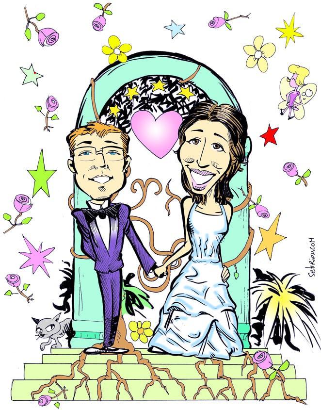 Faire-part de mariage caricature