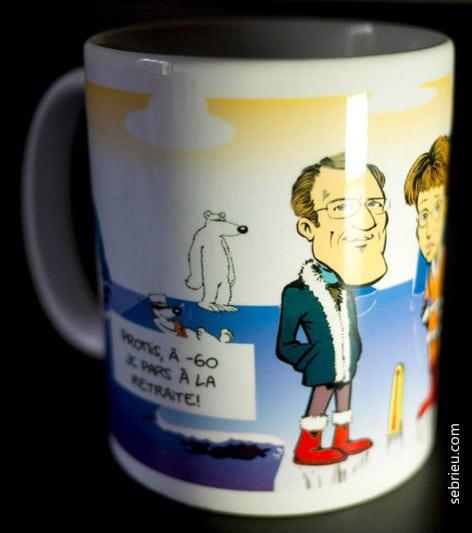Mug caricature pour un cadeau de départ en retraite
