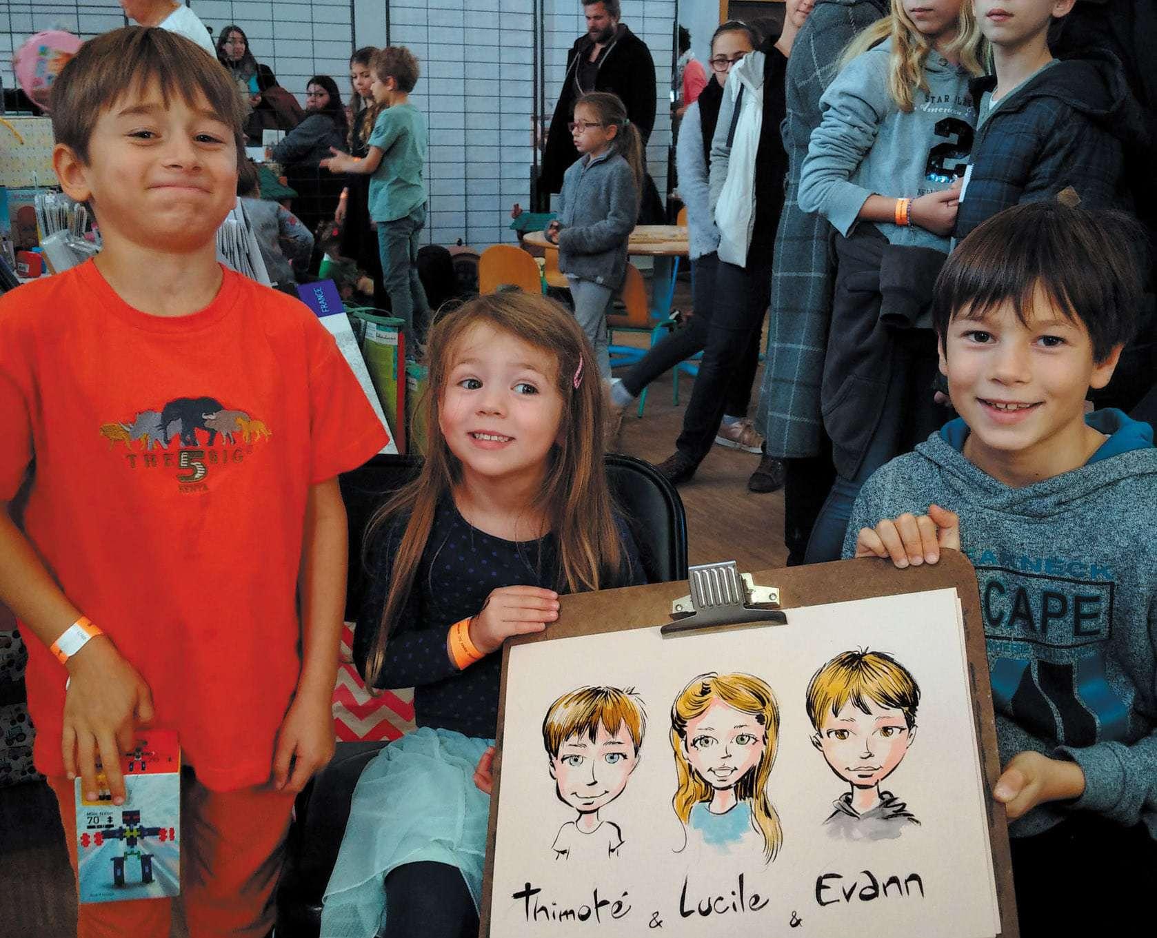 3 enfants caricaturés