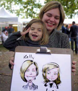 Une mère et sa fille caricaturées