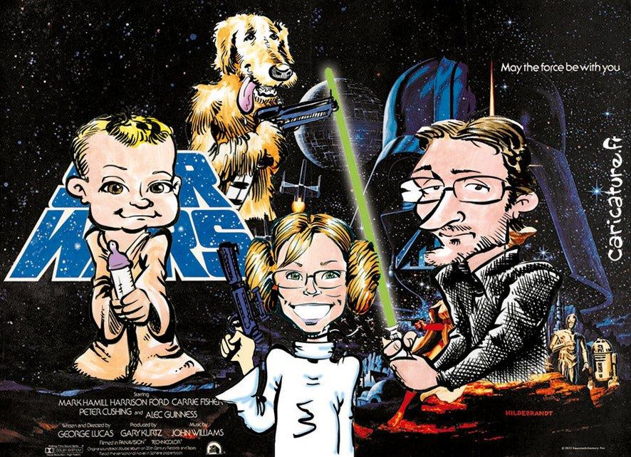 Caricature d'une famille et son chien en Star-Wars