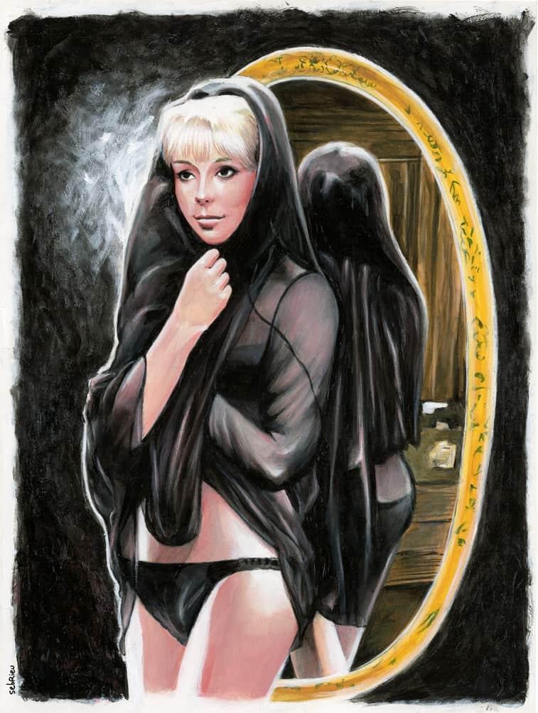 Mireille Darc, peinture acrylique sur feuille