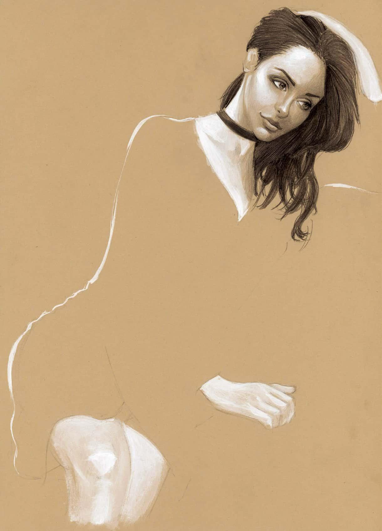 Nabilla, peinture acrylique & crayon à papier