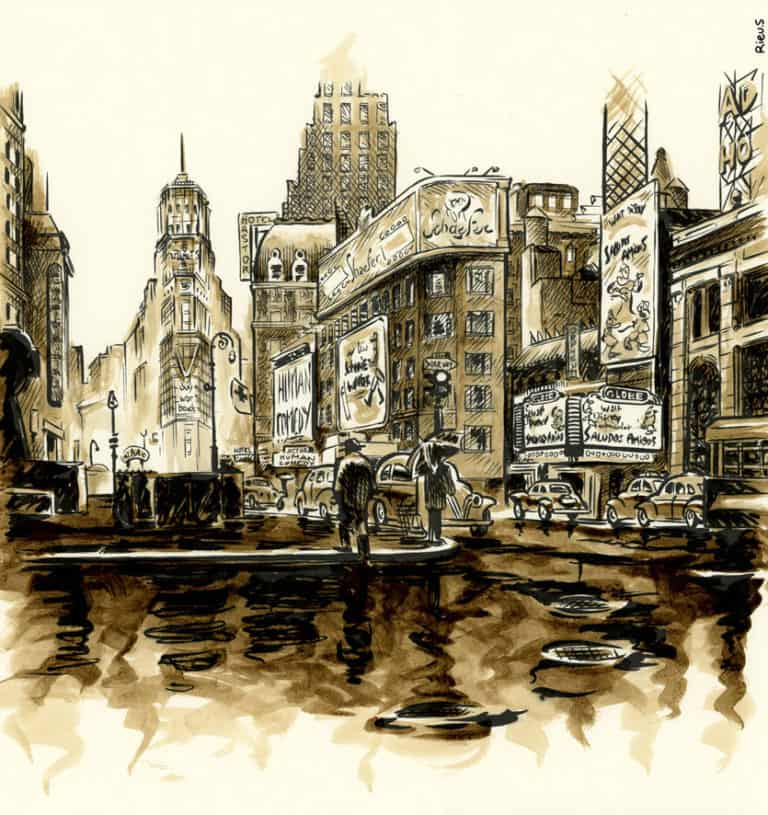 Time Square à New York en 1943 - Aquarelle