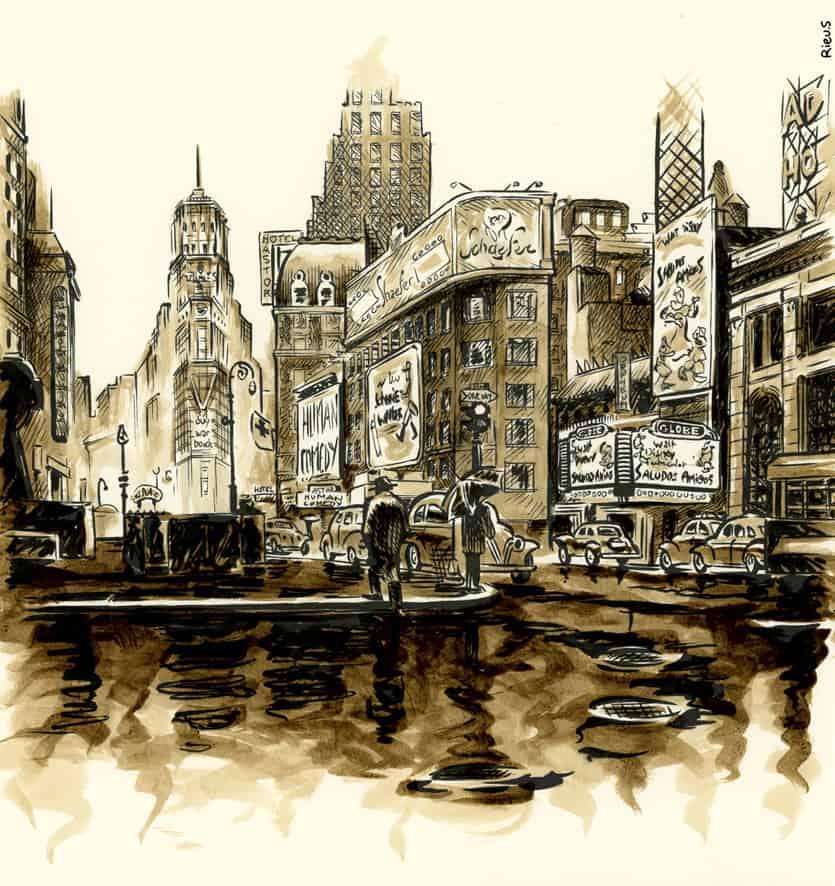 Aquarelle de Time Square en 1943