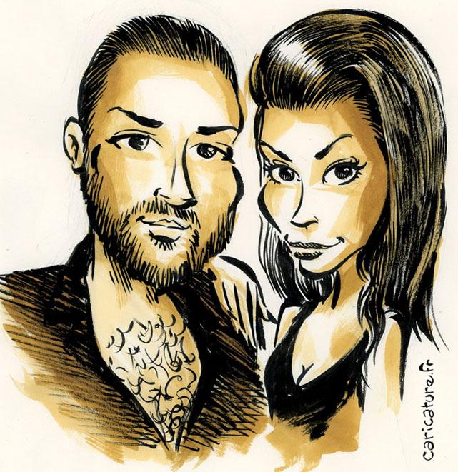 Caricature d'un jeune couple
