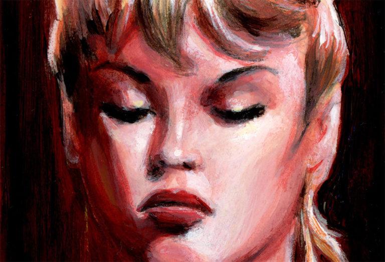 1956 - Brigitte Bardot, portrait à la peinture acrylique