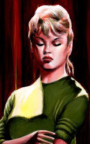 Portrait de Brigitte Bardot, peinture vintage