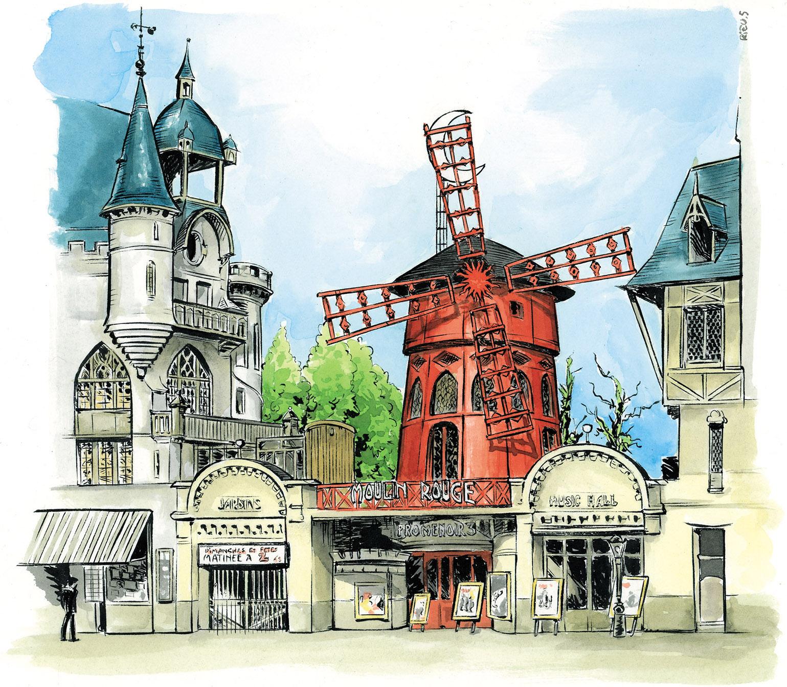 Le Moulin Rouge en 1914 - Aquarelle