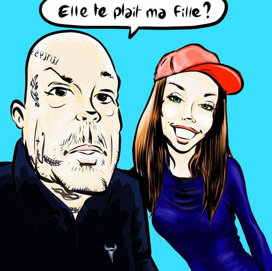 Caricature d'un père et de sa fille réalisé avec un Ipad